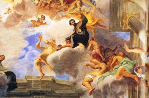 Itália, afresco de Andrea Pozzo na igreja de Santo Inacio de Roma, retratando xavier
